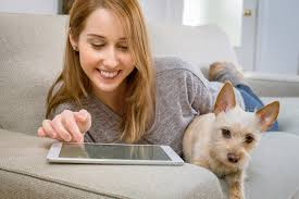dog and owner with tablet